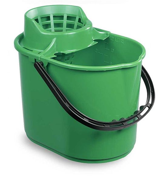 Plastic Mop Bucket & Strainer Green