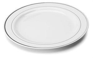 Mozaik 15cm White Plastic Plates with Silver Rim INJPLWS1520C10  sc 1 st  Disposable Products and Catering Supplies - quickdisposables.co.uk & Mozaik 15cm White Plastic Plates with Silver Rim INJPLWS1520C10 ...
