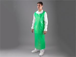 Green Flat Packed Heavy Duty Poloythene Aprons A7/G